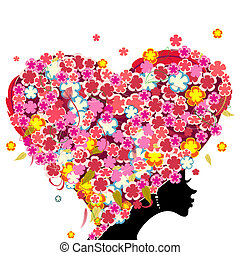 女孩, 带, 花, 在上, 她, 头, 在中, the, 形状, 在中, a, 心
