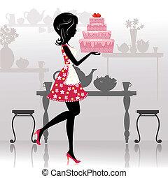 女孩, 带, a, 浪漫, 蛋糕