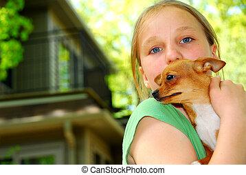 女孩, 带, a, 狗
