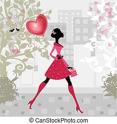 女孩, 带, a, valentines, balloon