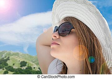 女孩, 帽子, 白膚金髮