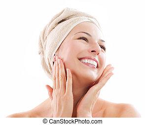 女孩, 感人, 在之后, face., 洗澡, 她, 美丽, skincare