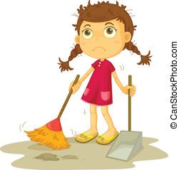 女孩, 打扫, 地板