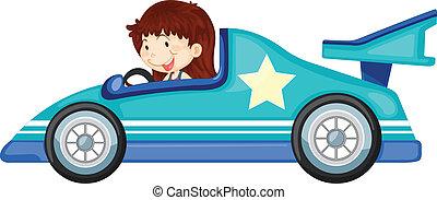 女孩, 推动一汽车