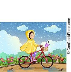 女孩, 摆脱, 在一辆自行车上, 在下面, the, rain.