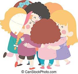 女孩, 擁抱, 組, 插圖, 孩子