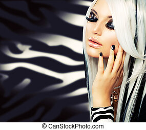 女孩, 時裝, 美麗, style., 布萊克頭發, 長, 白色
