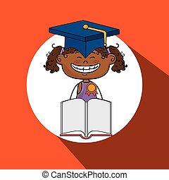 女孩, 書, 帽子, 學生