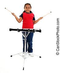 女孩, 木琴, 孩子