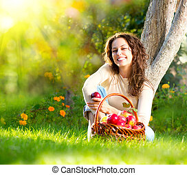 女孩, 果园, 吃, 有机, 苹果, 美丽