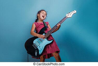 女孩, 歐洲, 出現, 十, 年, 演奏吉他, 上, a, 藍色, bac