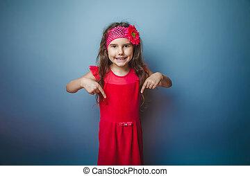 女孩, 歐洲, 出現, 有毛發, 孩子, ......的, 七, 在, 紅色, 明亮, dre