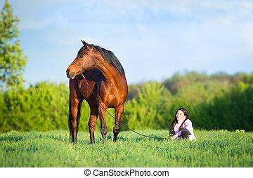 女孩, 步行, 由于, a, 馬