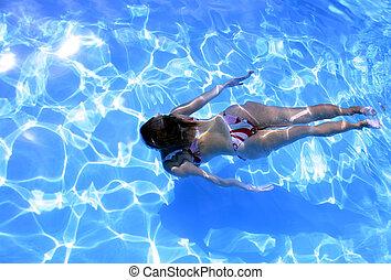 女孩, 水下