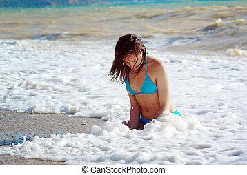 女孩, 泡沫, 波浪