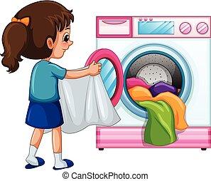 女孩, 洗衣房, 年輕
