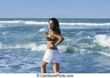 女孩, 浅黑型, 跳跃, 夏天, 海滩, 美丽