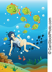 女孩, 游泳, 海洋