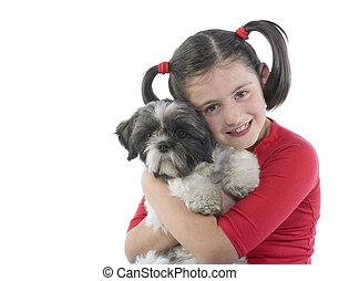 女孩, 狗, 她