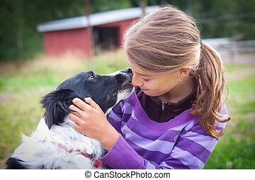 女孩, 狗
