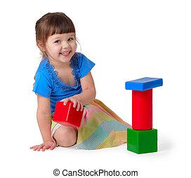 女孩, 玩, 玩具
