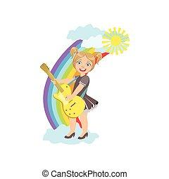 女孩, 玩, 電的吉他, 由于, 彩虹, 以及, 云霧, 裝飾
