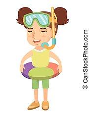 女孩, 由于, 可膨脹的戒指, 潛水面具, 以及, 水下通气管