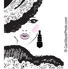 女孩, 由于, 在, a, 帶子, 帽子, 時裝, 插圖