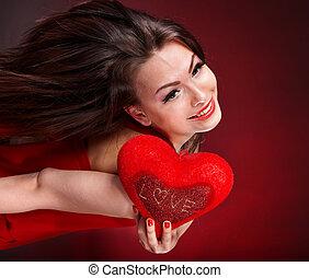 女孩, 由于, 心, 在, 紅色, flying., 華倫泰, day.