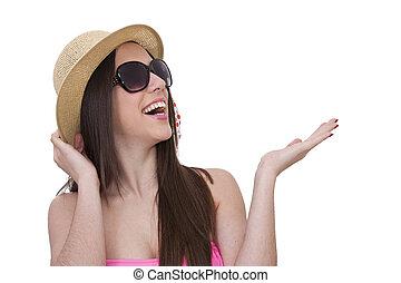 女孩, 由于, 比基尼, 以及, 太陽鏡, 驚奇