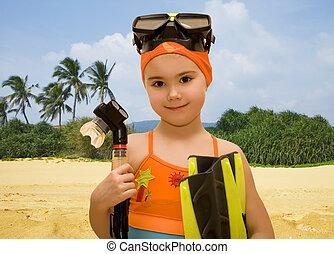 女孩, 由于, 水下通气管, 設備