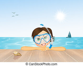 女孩, 由于, 水肺 面具, 為, 跳水