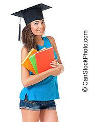 女孩, 由于, 畢業, 帽子