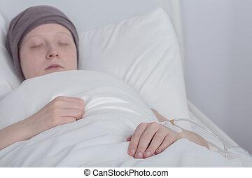 女孩, 由于, 癌症, 在期間, 療法