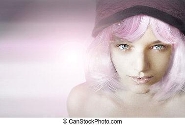 女孩, 由于, 粉紅色, 假發
