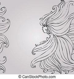 女孩, 由于, 美麗, 頭髮, seamless