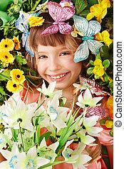 女孩, 由于, 蝴蝶, 以及, flower.