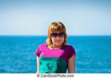女孩, 眼鏡, 海灘, 年輕 成人