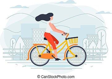 女孩, 矢量, 旗幟, 樣板, bike.