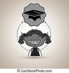 女孩, 研究, 學生, 圖象
