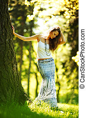 女孩, 站立, 在旁邊, a, 樹