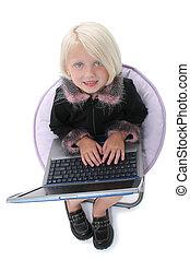 女孩, 笔记本电脑, 孩子