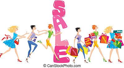 女孩, 組, 銷售, 卡通