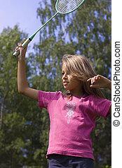 女孩, 羽毛球, 玩