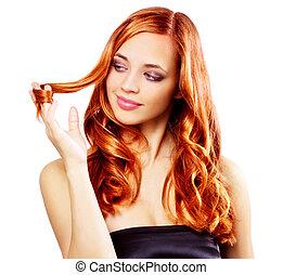 女孩, 肖像, redhaired, 白色, 隔离, 美丽