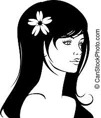 女孩, 脸, 美丽
