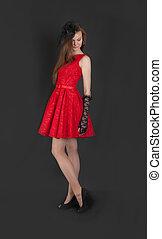 女孩, 衣服, 红