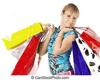 女孩, 袋子, 购物