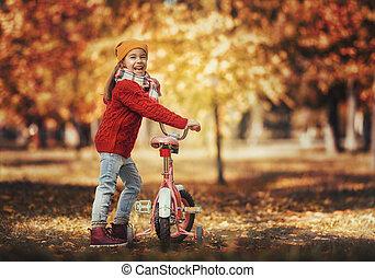 女孩, 走, 在中, 秋季, 公园