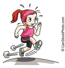 女孩, 跑, 練習, 被隔离, 上, w